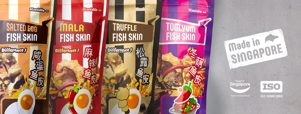 The Crusty's brand of crispy fish skin with red egg comes in different flavours and is also MUIS-compliant.